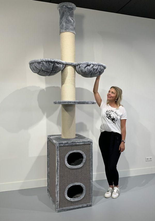 Krabpaal Cat Tower Box Light Grey