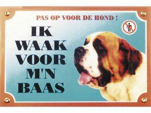 Waakbord gelamineerd Sint-Bernard blauw NL