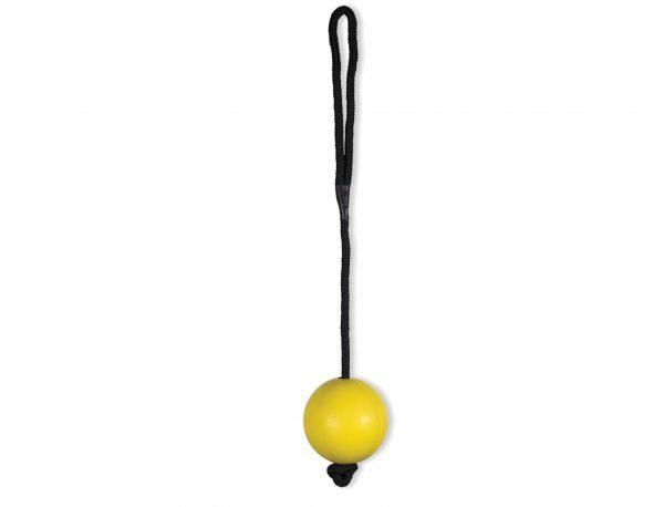 Speelgoed hond rubber bal met touw geel Ø6cm