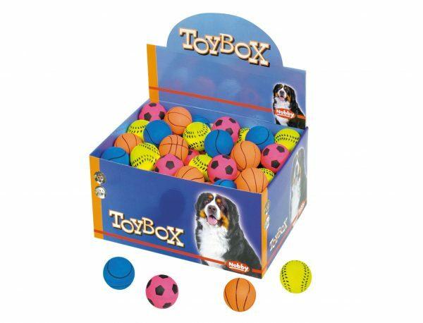 DIS72 Speelgoed hond gummi voetbal Ass.4,7cm