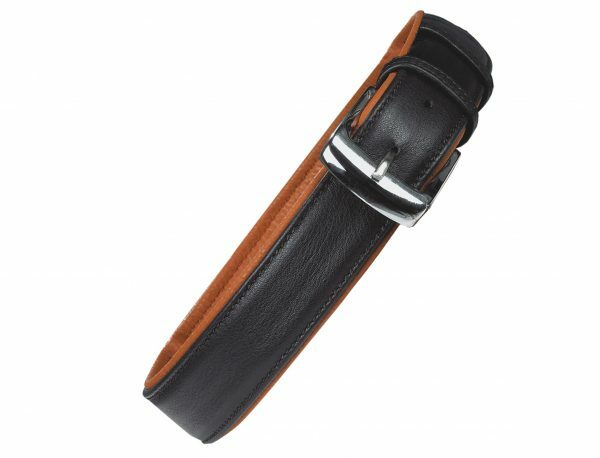 Halsband chara Leder zwart/cognac 60cmx30mm