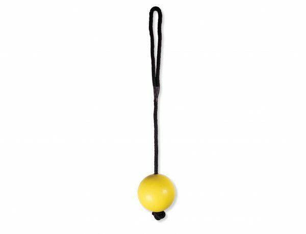 Speelgoed hond rubber bal met touw geel Ø7cm