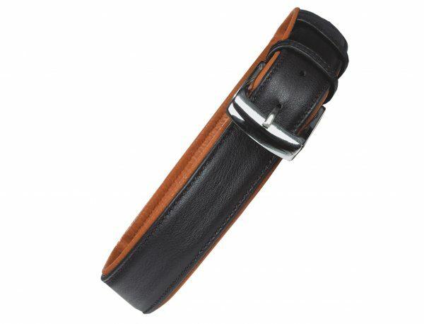 Halsband chara Leder zwart/cognac 40cmx16mm