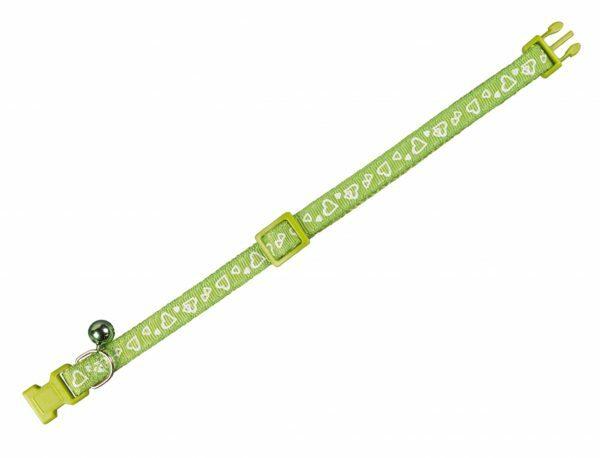 Halsband kat Hart groen 10 mm x 20-30 cm