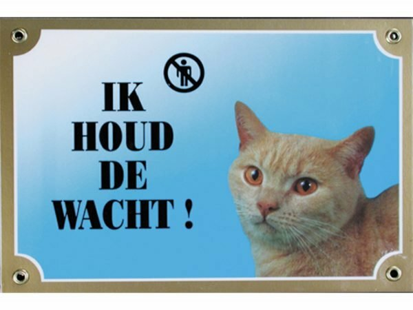 Waakbord gelamineerd kat blauw NL