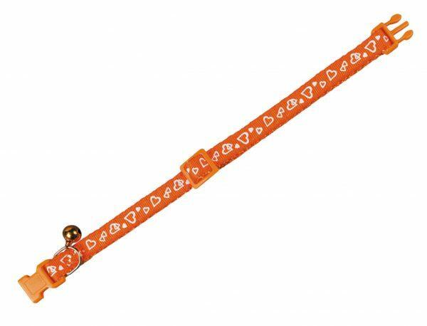 Halsband kat Hart oranje 10 mm x 20-30 cm