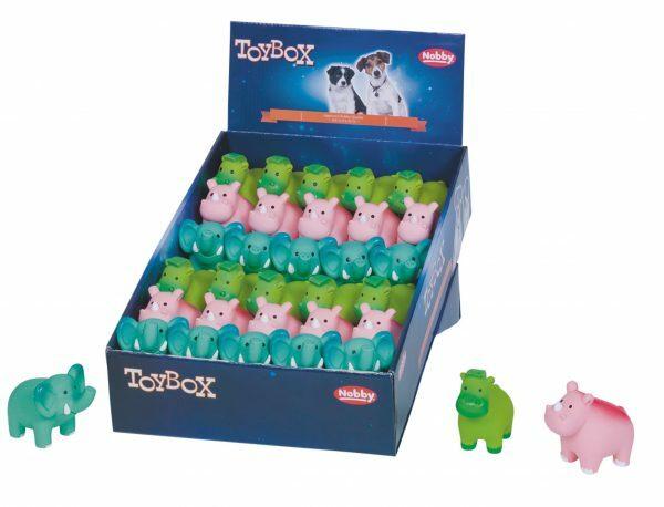 DIS30 Speelgoed hond latex jungle dieren Ass.7,9cm