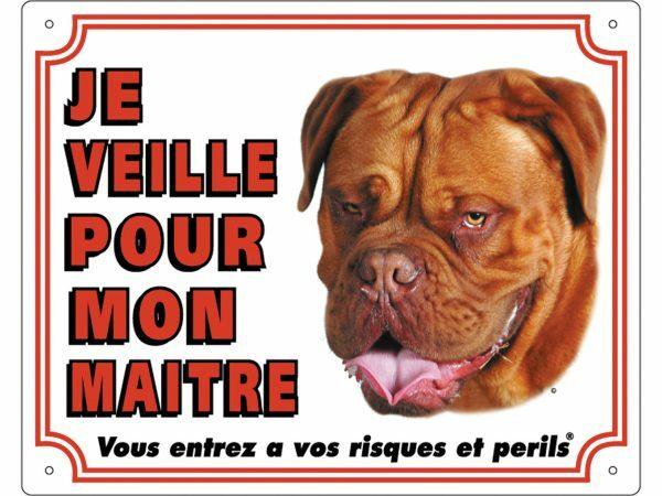 Waakbord PVc Bordeaux Dog wit FR