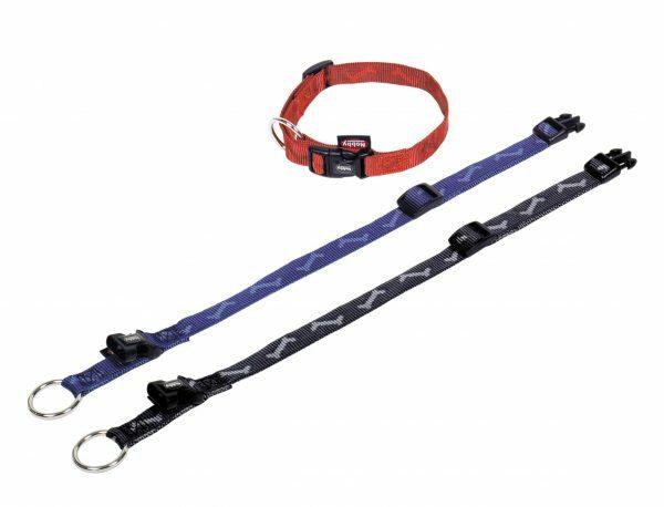 Halsband hond nylon Been zwart 10mmx20-35cm