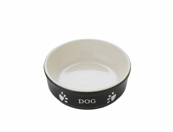"Eetpot hond aardewerk ""Dog"" zwart Ø12cm"
