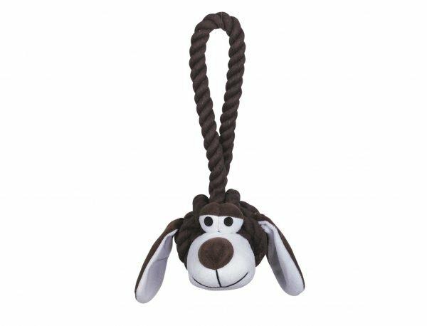 Speelgoed hond katoen Doggy bruin/wit L 30cm