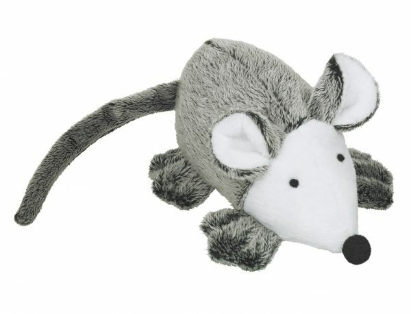 Speelgoed kat pluche muis Vera+catnip grijs 13cm