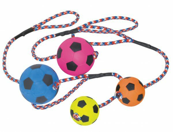 Speelgoed hond gummi voetbal + touw Ass. 6cm