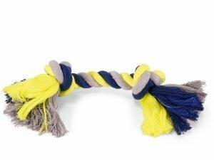 Katoenen koord 2 knopen blauw-geel 125g 28cm