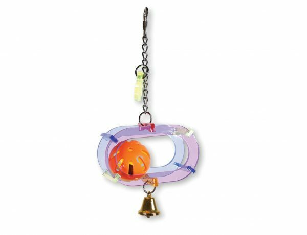 Speelgoed vogel plexi met bal 25cm