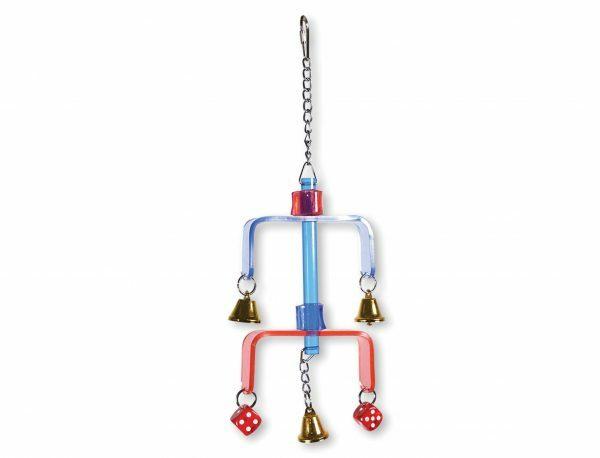 Speelgoed vogel plexi met bel en dobbelstenen 37cm