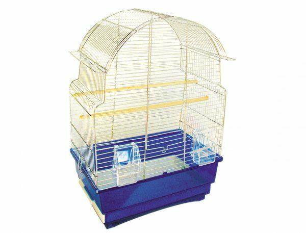 Kooi  kleine vogel Pagoda chroom-blauw 47x29x59cmS