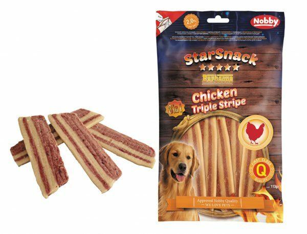 Snack hond kip trio streep 113gr