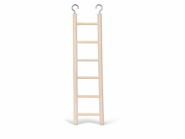 Speelgoed vogel hout ladder 6 sporten 28x7 cm