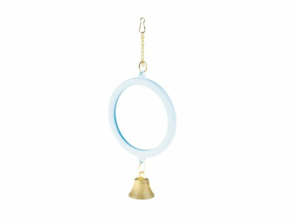 Speelgoed vogel Spiegel met bel paars 17cm