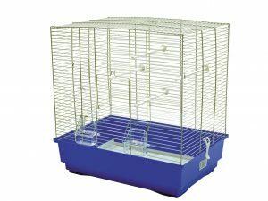 Kooi kleine vogel  Moira chroom/blauw 51x36x54cm