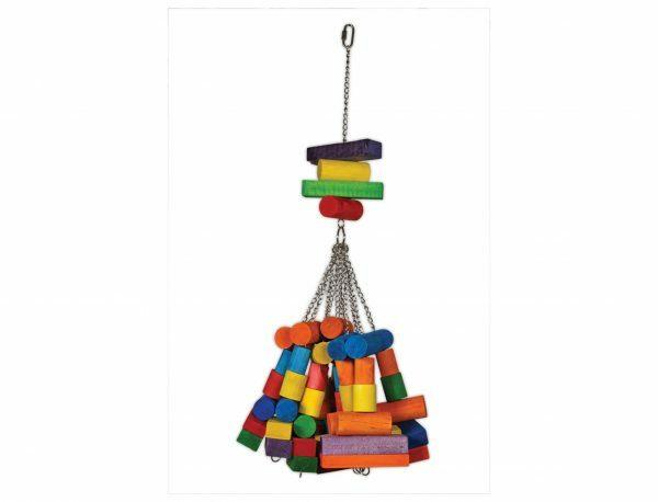 Speelgoed vogel hout grote blokjes multikleur 76cm