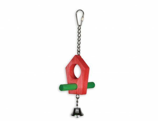 Speelgoed vogel hout huisje rood 23cm