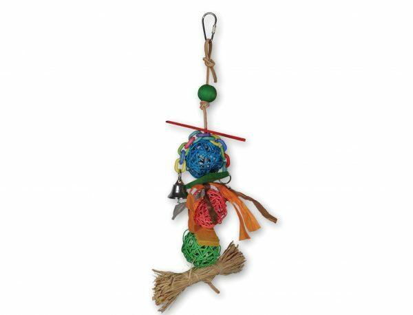 Speelgoed vogel 3 rieten ballen multikleur 35cm