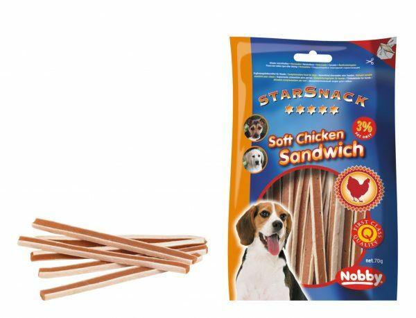 Snack hond soft kip sandwich 375gr