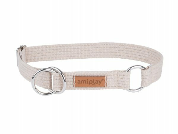 Ami Halsband Cotton Half-check beige32-50cmx25mm L