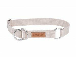 Ami Halsband Cotton Half-check beige26-40cmx20mm M
