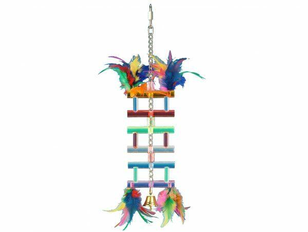 Speelgoed vogel plexi Love ladder + bel 21 cm