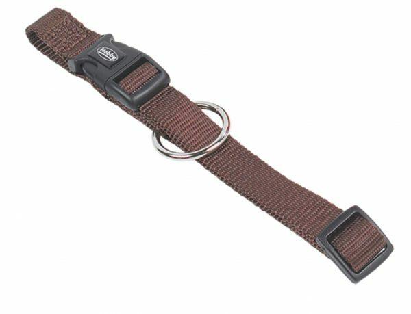 Halsband hond nylon Classic bruin 25mmx50-65cm