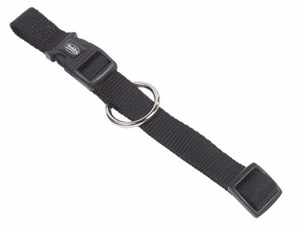 Halsband hond nylon Classic zwart 25mmx50-65cm