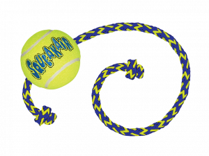 KONG Air Squeaker Tennis Ball M 6 cm met touw 52 cm
