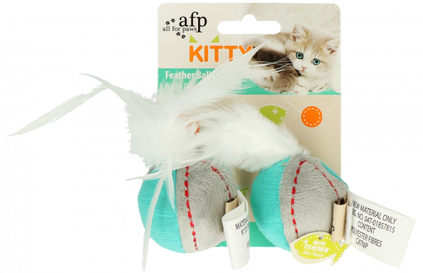 AFP Kitty Feather Ball Turquoise