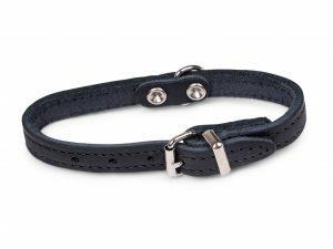 Halsband geolied leder zwart 27cmx12mm XXS