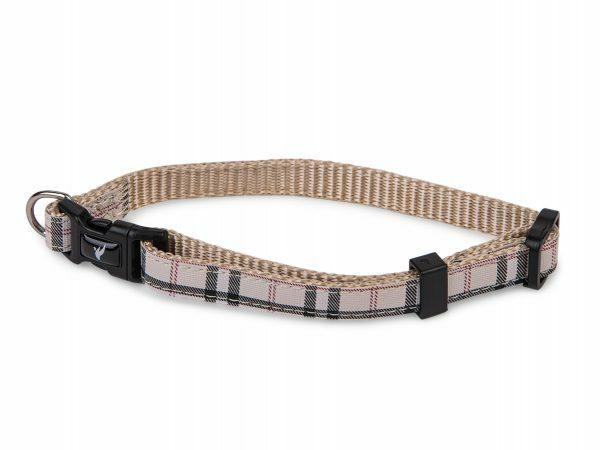 Halsband nylon Schotse Ruit beige13-20cmx10mm XS