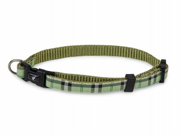 Halsband nylon Schotse Ruit groen13-20cmx10mm XS