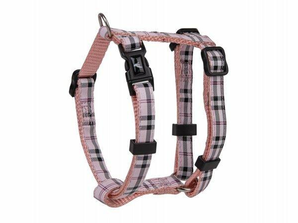 Harnas nylon Schotse Ruit roze 20-35cmx10mm XS