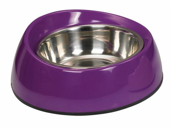 Eetpot hond inox/quatro melamine paars 20cm 0,35L