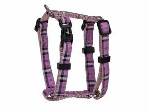 Harnas nylon Schotse Ruit paars 20-35cmx10mm XS