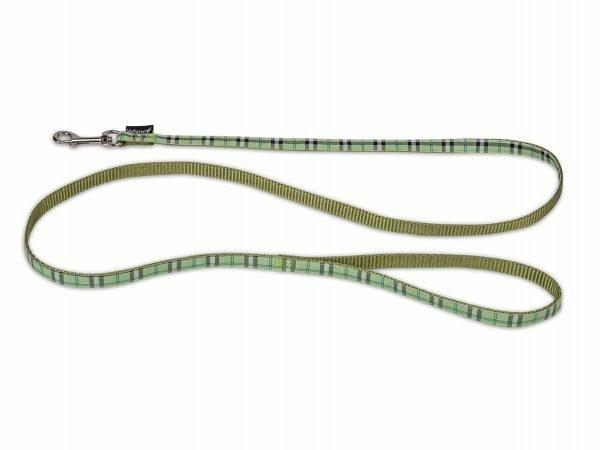 Leiband hond nylon Schotse Ruit groen 120cmx10mm S