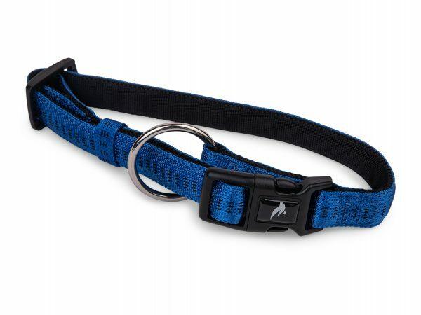 Halsband nylon Soft Grip blauw 30-45cmx20mm M
