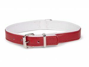 Halsband kunstleder Sunrise rood 32cmx12-14mm XS-S
